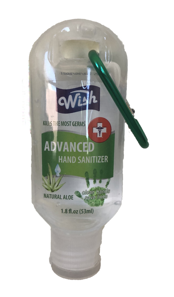Wish Hand Sanitizer Natural Aloe 1.8 oz With Belt Clip 5-Pack